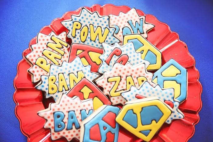 Awesome superhero cookies from a Comic Book Superhero Joint Birthday Party via Kara's Party Ideas | KarasPartyIdeas.com (25)