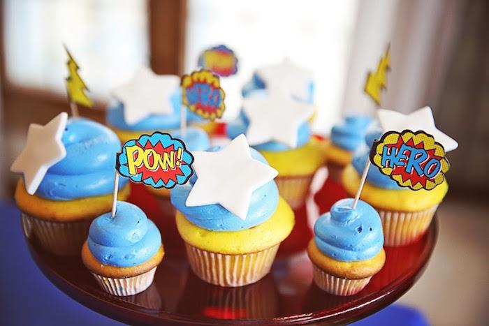 Superhero-inspired Cupcakes from a Comic Book Superhero Joint Birthday Party via Kara's Party Ideas | KarasPartyIdeas.com (24)