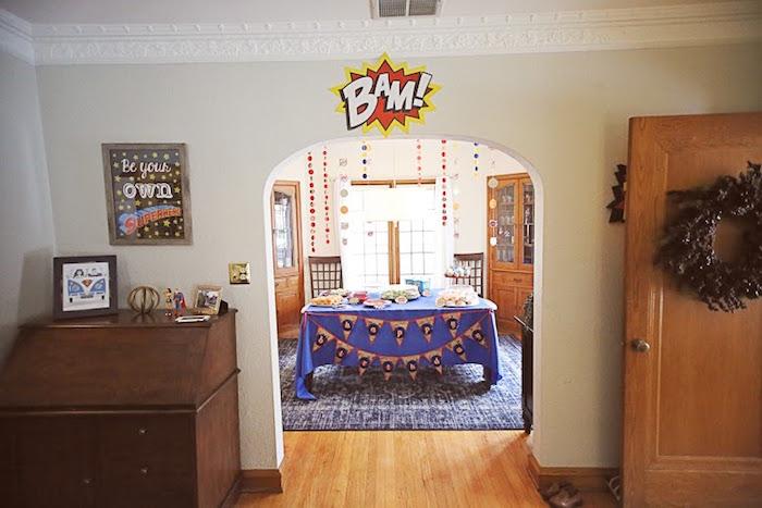 Party setup from a Comic Book Superhero Joint Birthday Party via Kara's Party Ideas | KarasPartyIdeas.com (21)