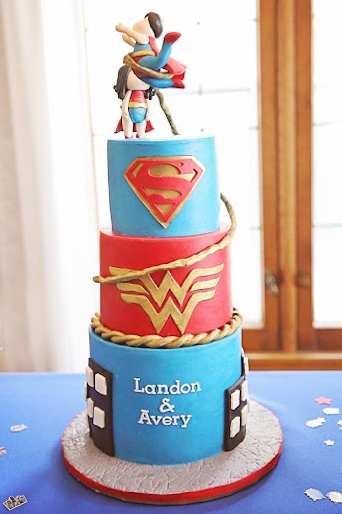 Cake From A Comic Book Superhero Joint Birthday Party Via Karas Ideas