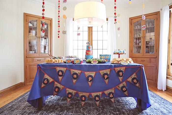 Main table from a Comic Book Superhero Joint Birthday Party via Kara's Party Ideas | KarasPartyIdeas.com (15)