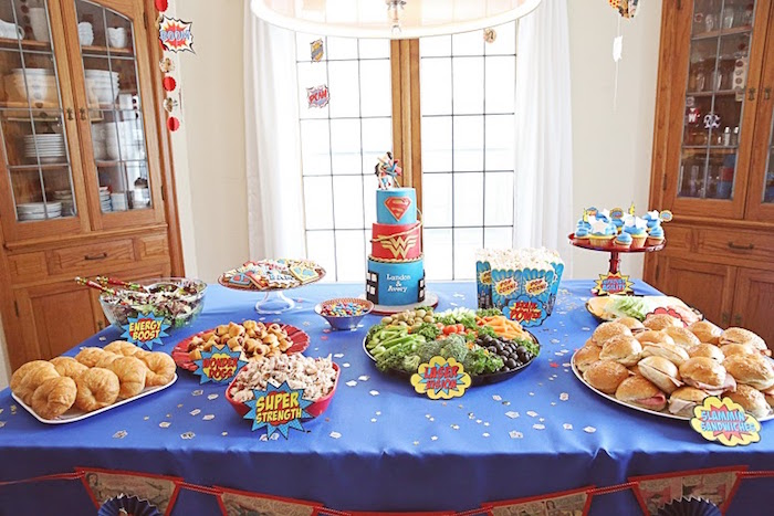 Superhero table from a Comic Book Superhero Joint Birthday Party via Kara's Party Ideas | KarasPartyIdeas.com (14)
