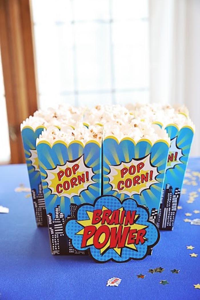 Popcorn from a Comic Book Superhero Joint Birthday Party via Kara's Party Ideas | KarasPartyIdeas.com (11)