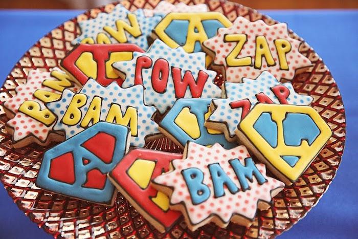 Superhero-inspired Cookies from a Comic Book Superhero Joint Birthday Party via Kara's Party Ideas | KarasPartyIdeas.com (10)