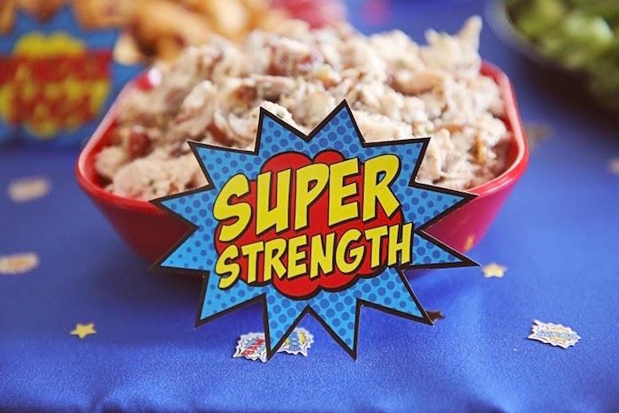 Food tag from a Comic Book Superhero Joint Birthday Party via Kara's Party Ideas | KarasPartyIdeas.com (7)