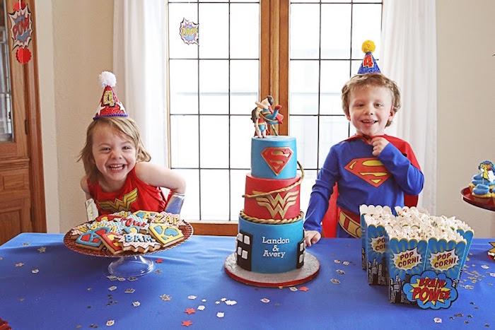 Birthday smiles from a Comic Book Superhero Joint Birthday Party via Kara's Party Ideas | KarasPartyIdeas.com (4)