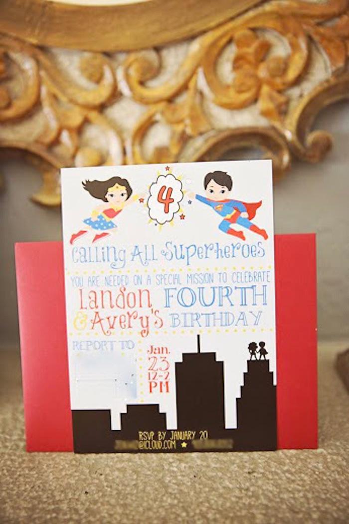Invitation from a Comic Book Superhero Joint Birthday Party via Kara's Party Ideas | KarasPartyIdeas.com (30)