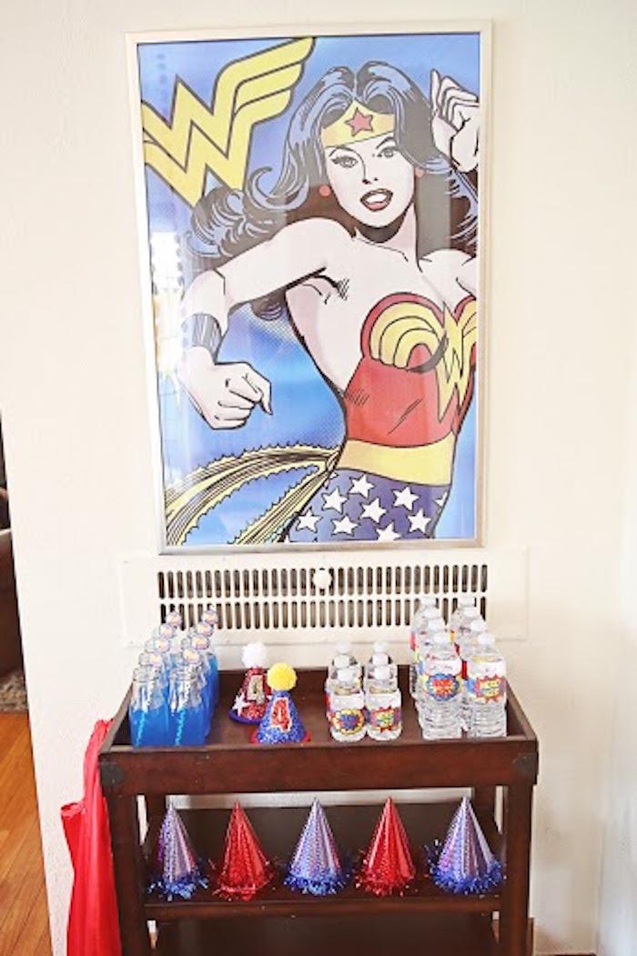 Drink + favor station from a Comic Book Superhero Joint Birthday Party via Kara's Party Ideas | KarasPartyIdeas.com (28)
