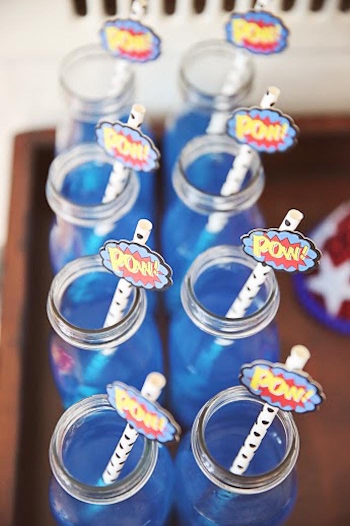 Drinks from a Comic Book Superhero Joint Birthday Party via Kara's Party Ideas | KarasPartyIdeas.com (27)