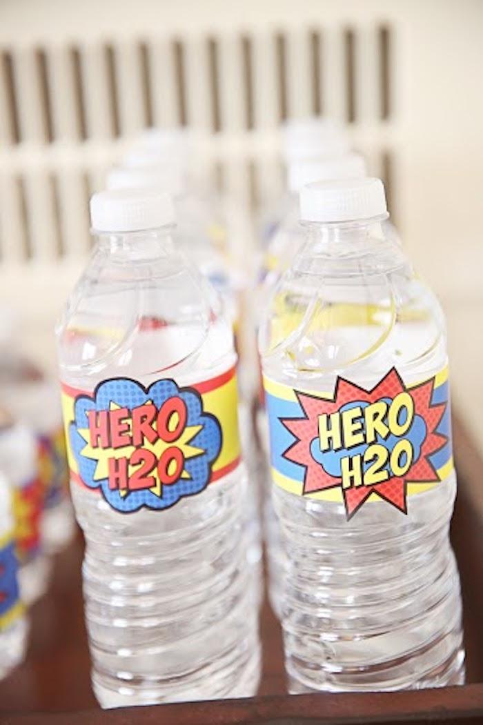 Water bottles from a Comic Book Superhero Joint Birthday Party via Kara's Party Ideas | KarasPartyIdeas.com (26)