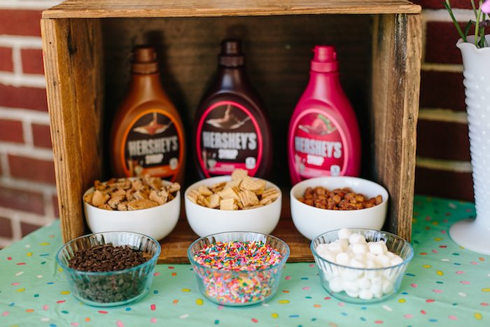 Toppings bar from a Confetti Inspired Ice Cream Birthday Party via Kara's Party Ideas | KarasPartyIdeas.com (18)