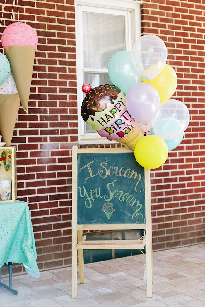 Chalkboard sign from a Confetti Inspired Ice Cream Birthday Party via Kara's Party Ideas | KarasPartyIdeas.com (15)