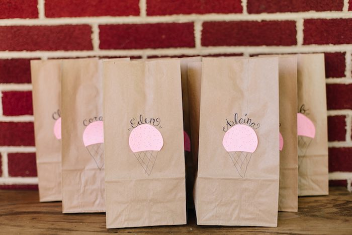 Brown paper favor sacks from a Confetti Inspired Ice Cream Birthday Party via Kara's Party Ideas | KarasPartyIdeas.com (14)