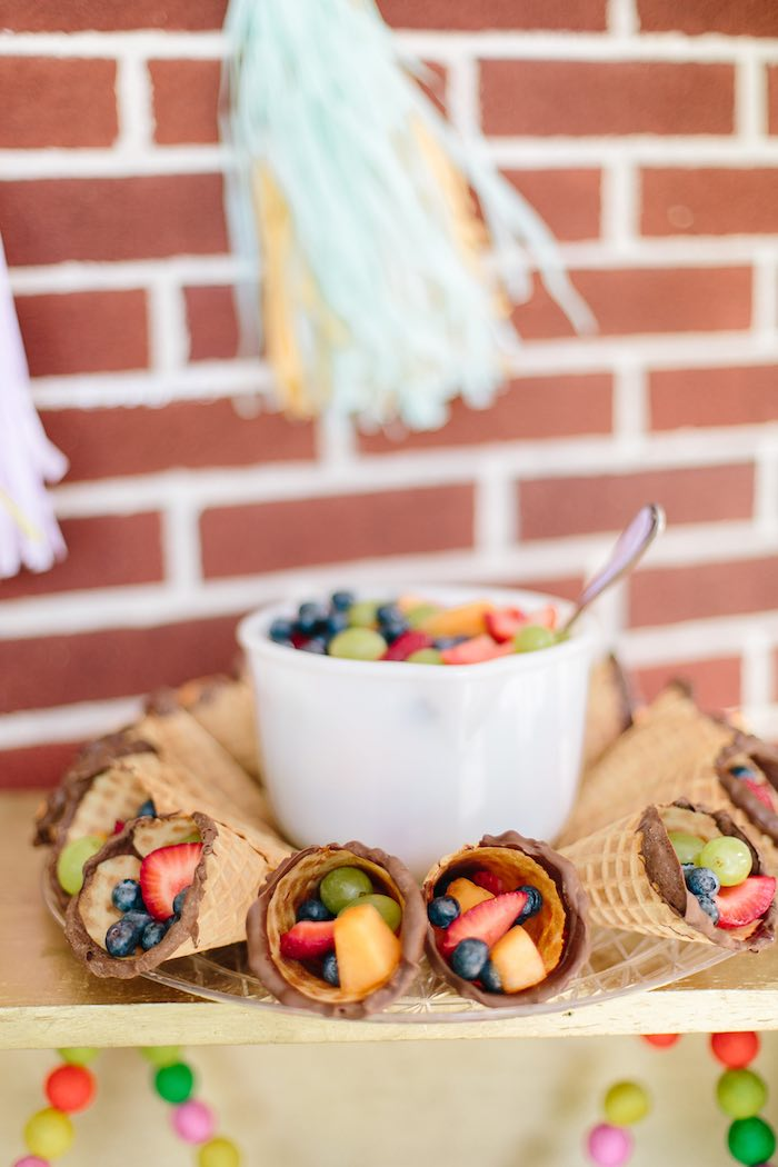 Fruit filled waffle cones from a Confetti Inspired Ice Cream Birthday Party via Kara's Party Ideas | KarasPartyIdeas.com (12)