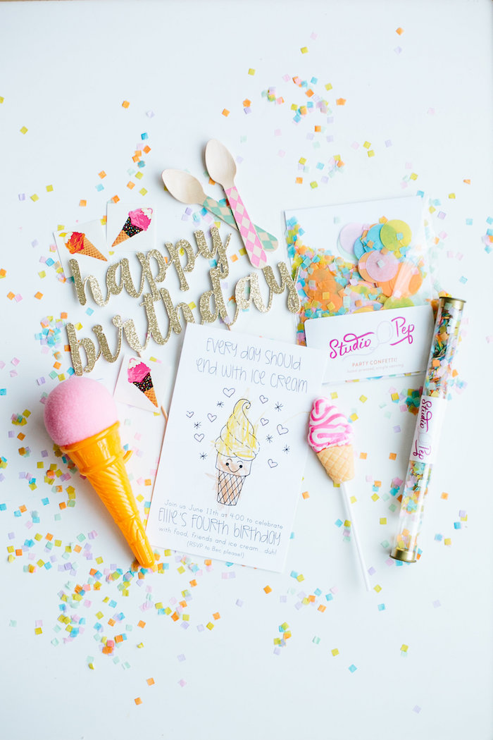 Adorable ice cream party details from a Confetti Inspired Ice Cream Birthday Party via Kara's Party Ideas | KarasPartyIdeas.com (27)