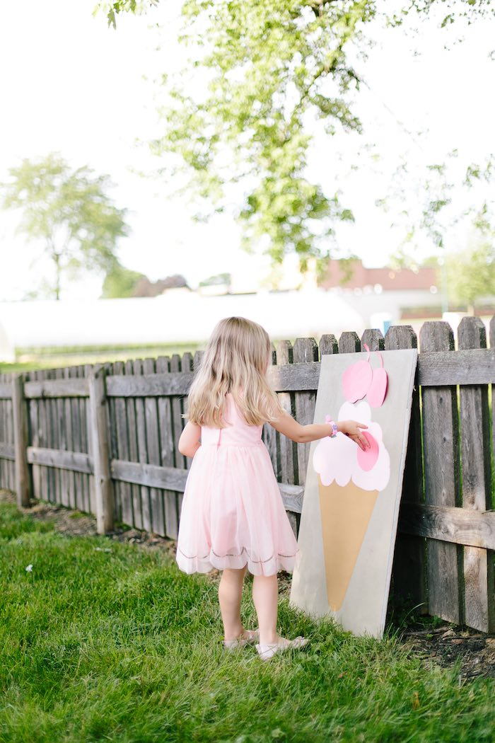 Cherry on top ice cream party game from a Confetti Inspired Ice Cream Birthday Party via Kara's Party Ideas | KarasPartyIdeas.com (8)