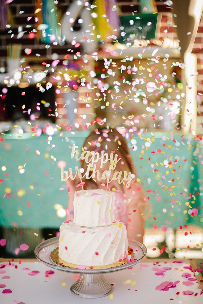 Confetti time from a Confetti Inspired Ice Cream Birthday Party via Kara's Party Ideas | KarasPartyIdeas.com (6)
