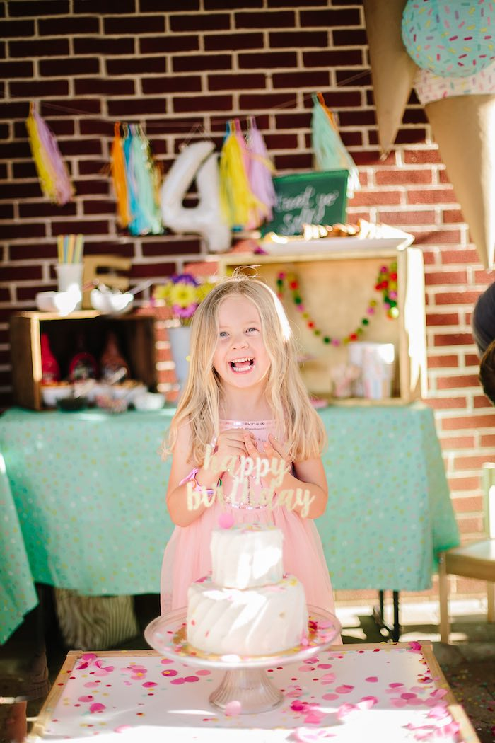 Birthday smiles from a Confetti Inspired Ice Cream Birthday Party via Kara's Party Ideas | KarasPartyIdeas.com (5)