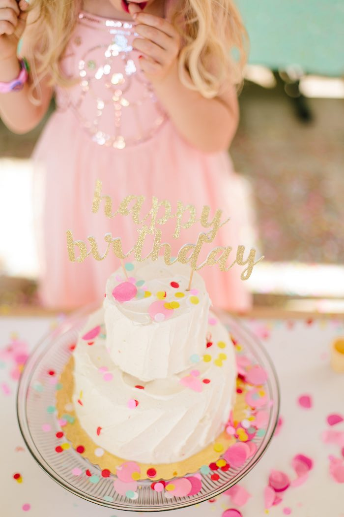 Confetti covered cake from a Confetti Inspired Ice Cream Birthday Party via Kara's Party Ideas | KarasPartyIdeas.com (4)