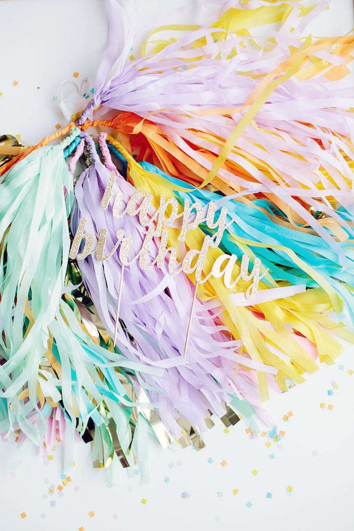 Tassel garland from a Confetti Inspired Ice Cream Birthday Party via Kara's Party Ideas | KarasPartyIdeas.com (26)