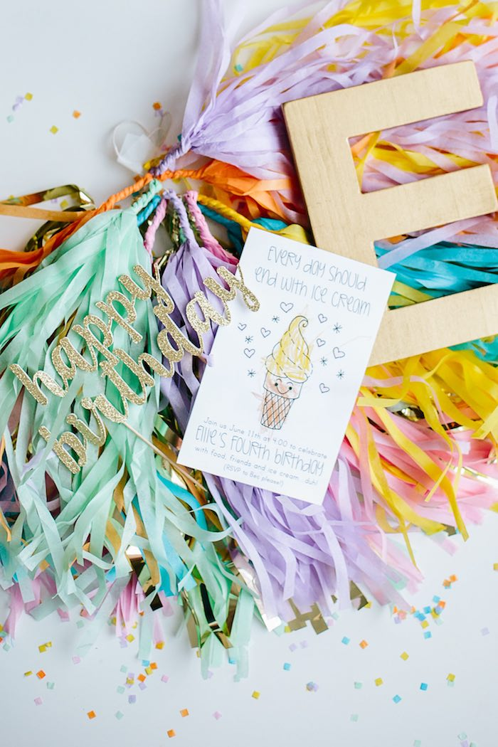 Ice Cream Party Invitation from a Confetti Inspired Ice Cream Birthday Party via Kara's Party Ideas | KarasPartyIdeas.com (25)