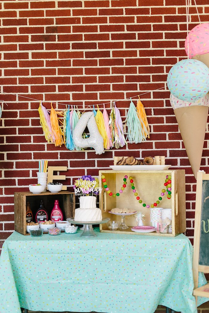 Ice cream dessert table bar from a Confetti Inspired Ice Cream Birthday Party via Kara's Party Ideas | KarasPartyIdeas.com (23)