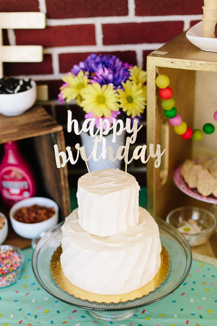 White 2-tiered birthday cake from a Confetti Inspired Ice Cream Birthday Party via Kara's Party Ideas | KarasPartyIdeas.com (21)