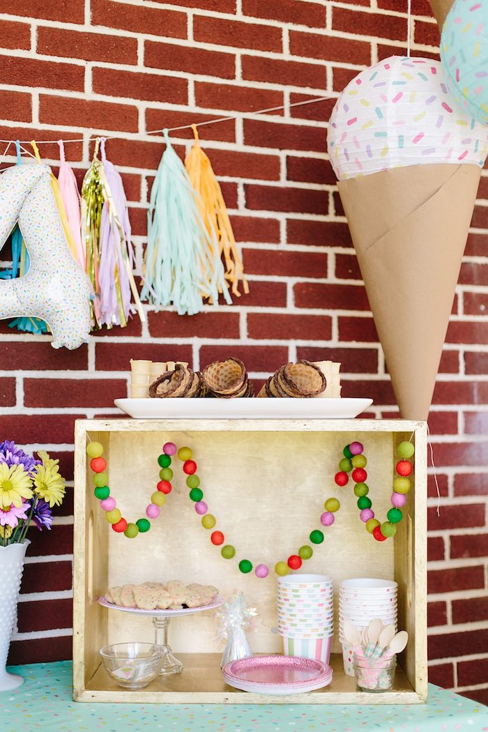 Ice cream bar from a Confetti Inspired Ice Cream Birthday Party via Kara's Party Ideas | KarasPartyIdeas.com (20)