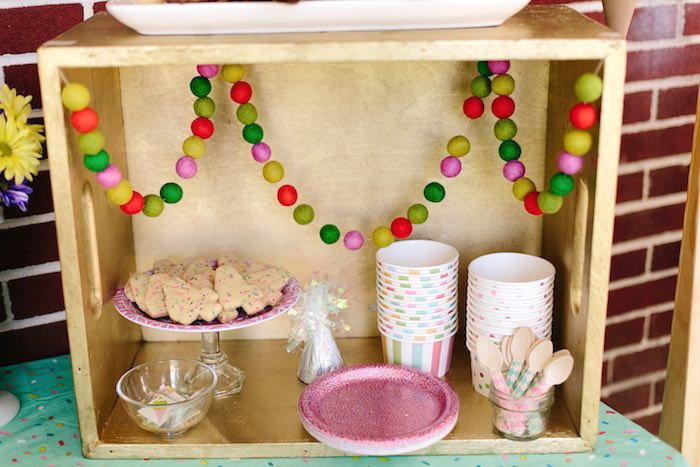 Ice cream bar from a Confetti Inspired Ice Cream Birthday Party via Kara's Party Ideas | KarasPartyIdeas.com (19)