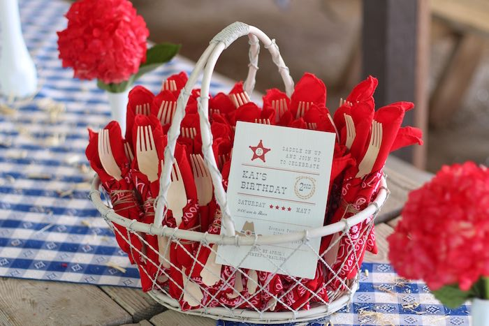 Utensil packs from a Cowboy Western Birthday Party via Kara's Party Ideas | KarasPartyIdeas.com (12)