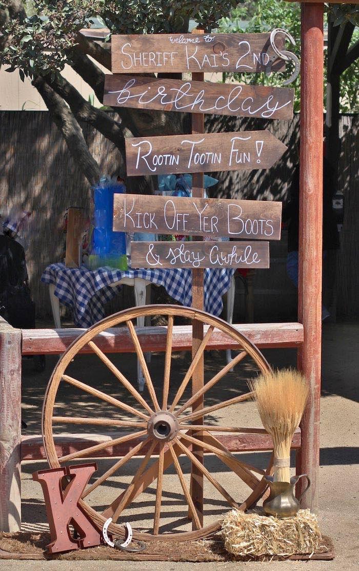 Entrance + welcome sign from a Cowboy Western Birthday Party via Kara's Party Ideas | KarasPartyIdeas.com (9)