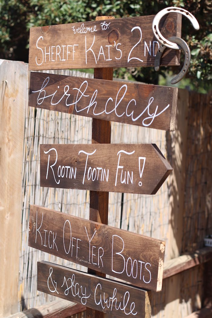 Wooden sign from a Cowboy Western Birthday Party via Kara's Party Ideas | KarasPartyIdeas.com (7)