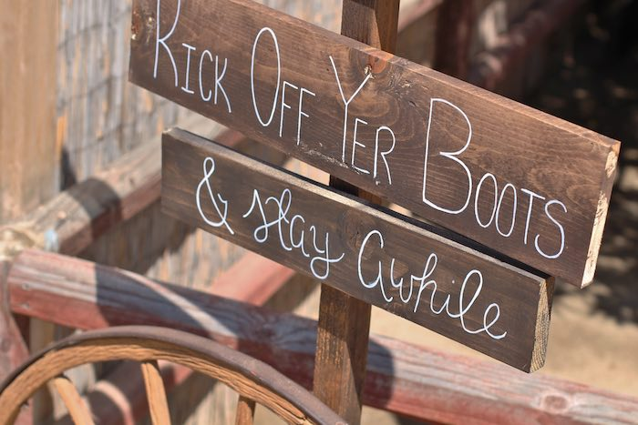 Wooden sign from a Cowboy Western Birthday Party via Kara's Party Ideas | KarasPartyIdeas.com (6)