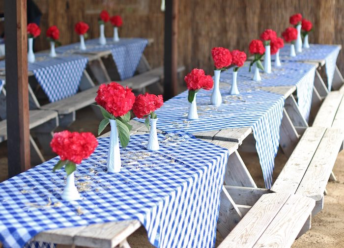 Guest tables from a Cowboy Western Birthday Party via Kara's Party Ideas | KarasPartyIdeas.com (30)