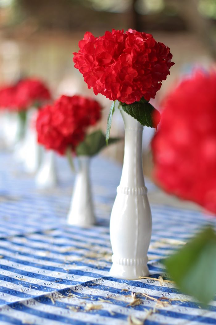 Red flower centerpiece from a Cowboy Western Birthday Party via Kara's Party Ideas | KarasPartyIdeas.com (28)