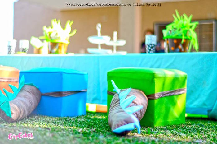 Dinosaur tail chairs from a Dinosaur Birthday Party via Kara's Party Ideas | KarasPartyIdeas.com (26)