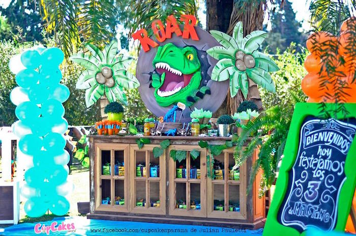 Head dessert table from a Dinosaur Birthday Party via Kara's Party Ideas | KarasPartyIdeas.com (8)