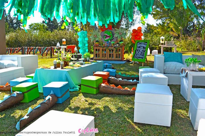 Partyscape from a Dinosaur Birthday Party via Kara's Party Ideas | KarasPartyIdeas.com (34)