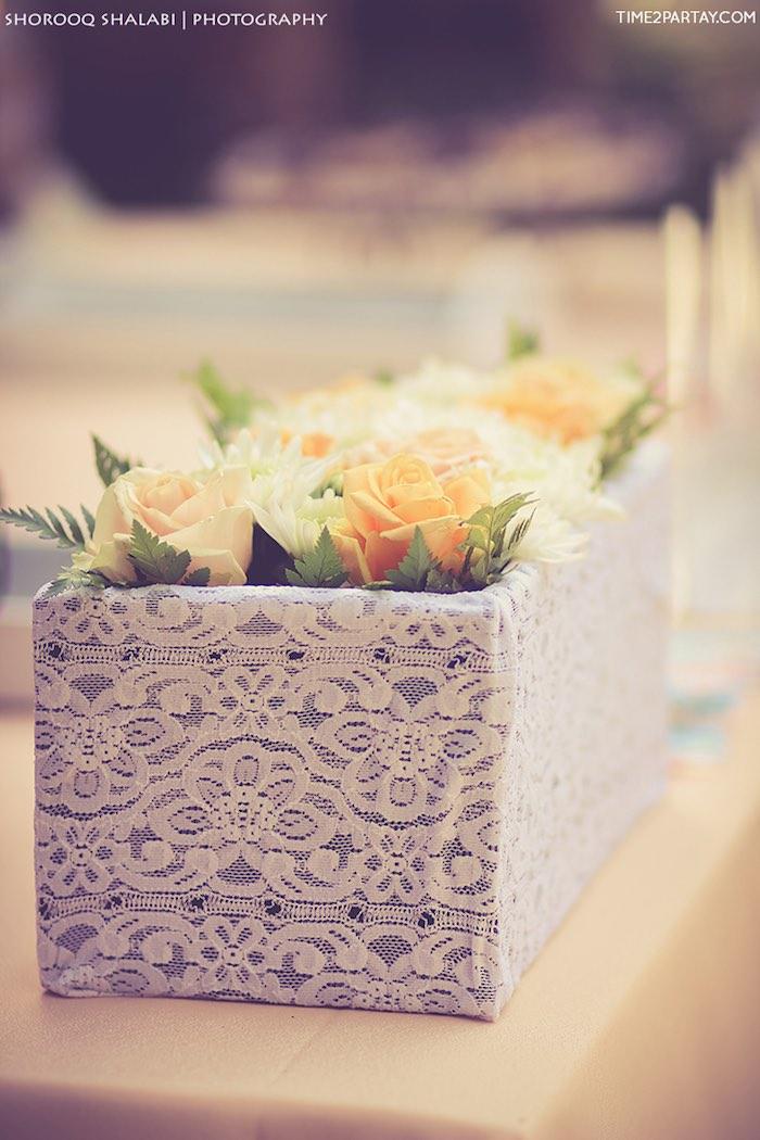 Flower box from a Dream Catcher Baby Shower via Kara's Party Ideas | KarasPartyIdeas.com (31)