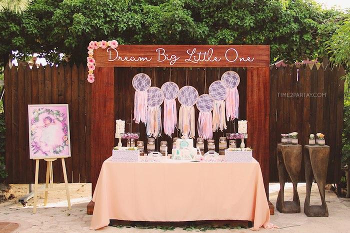 Dessert display from a Dream Catcher Baby Shower via Kara's Party Ideas | KarasPartyIdeas.com (30)