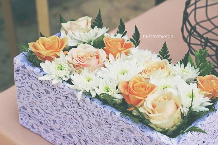 Floral box centerpiece from a Dream Catcher Baby Shower via Kara's Party Ideas | KarasPartyIdeas.com (29)