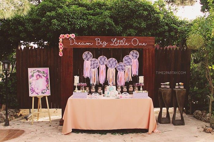 Dreamy dessert display + setup from a Dream Catcher Baby Shower via Kara's Party Ideas | KarasPartyIdeas.com (44)