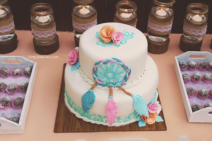 Dream catcher cake from a Dream Catcher Baby Shower via Kara's Party Ideas | KarasPartyIdeas.com (25)