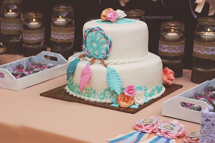 Adorable dream catcher cake from a Dream Catcher Baby Shower via Kara's Party Ideas | KarasPartyIdeas.com (22)