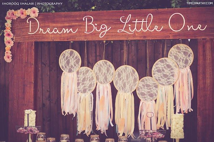 Dessert table backdrop from a Dream Catcher Baby Shower via Kara's Party Ideas | KarasPartyIdeas.com (18)
