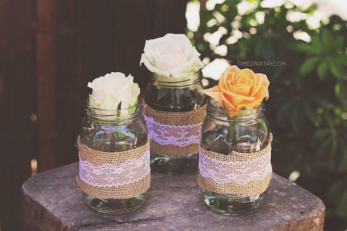 Mason jar floral centerpieces from a Dream Catcher Baby Shower via Kara's Party Ideas | KarasPartyIdeas.com (17)