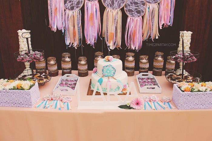 Dessert table from a Dream Catcher Baby Shower via Kara's Party Ideas | KarasPartyIdeas.com (16)