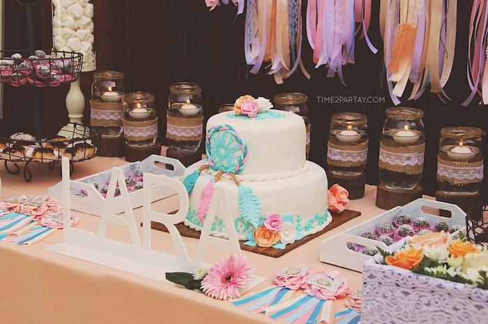 Dessert table details from a Dream Catcher Baby Shower via Kara's Party Ideas | KarasPartyIdeas.com (15)