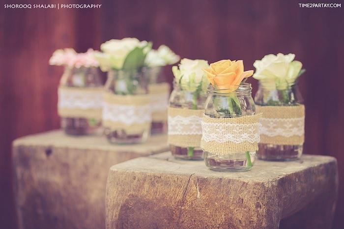 Mason jar flower centerpieces from a Dream Catcher Baby Shower via Kara's Party Ideas | KarasPartyIdeas.com (14)