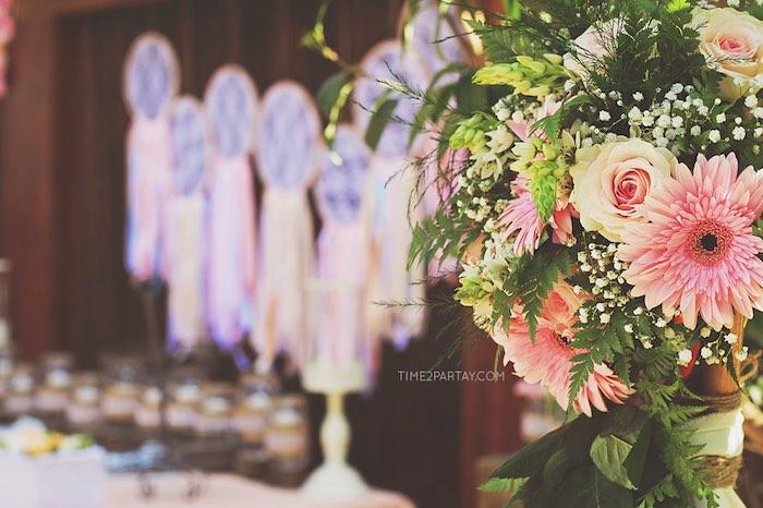 Flowers from a Dream Catcher Baby Shower via Kara's Party Ideas | KarasPartyIdeas.com (12)